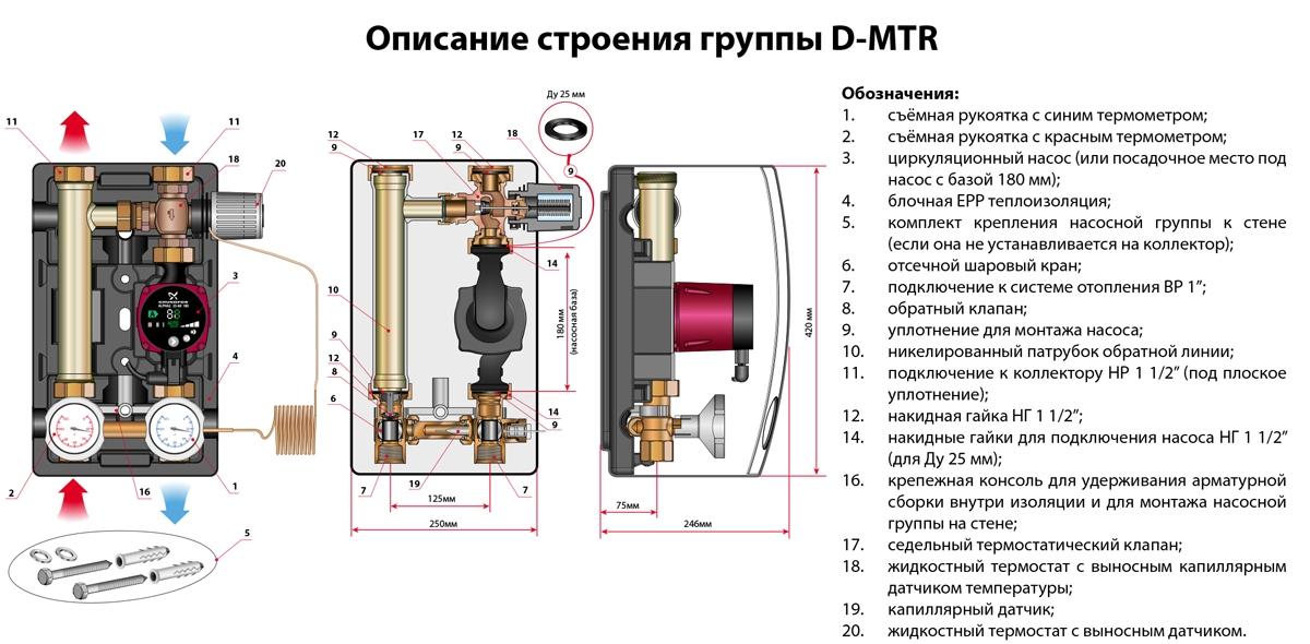 Насосні групи D-МTR (з обмеженням температури зворотної лінії, термостат 35-65 ° С) - 1
