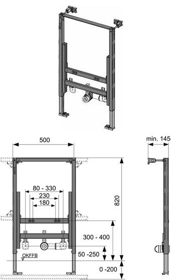 Модуль ТЕСЕ для підвісного біде 820мм - 1