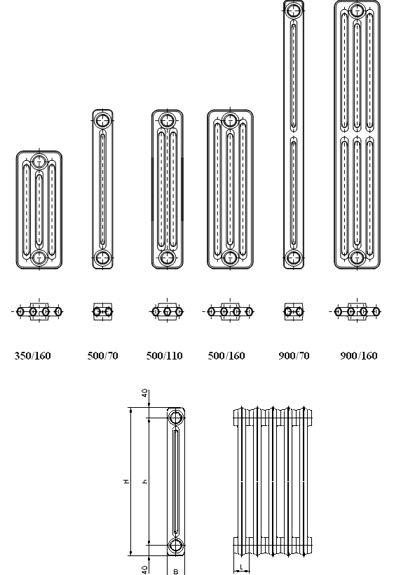 Чавунні радіатори Kalor 3 350/160 - 2