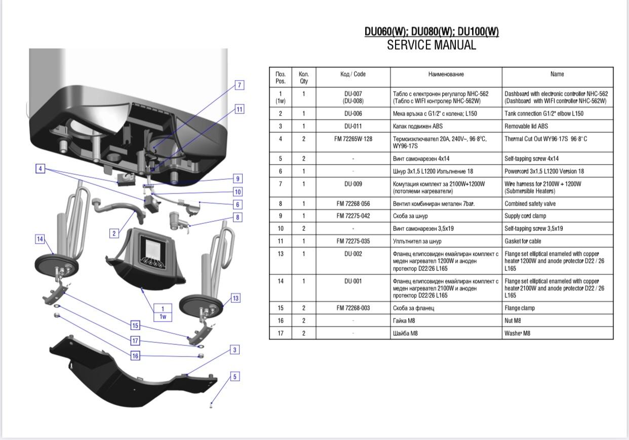 Бойлер ELDOM GALANT DU100 Мокрий тен - 8