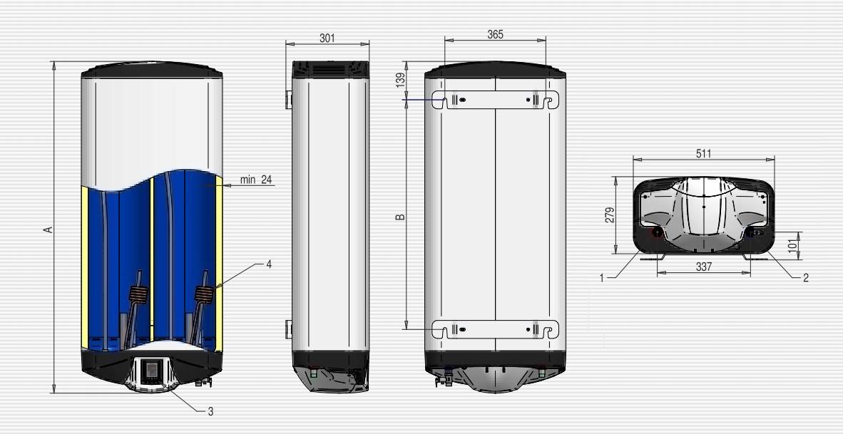 Бойлер ELDOM GALANT DU100 Мокрий тен - 9